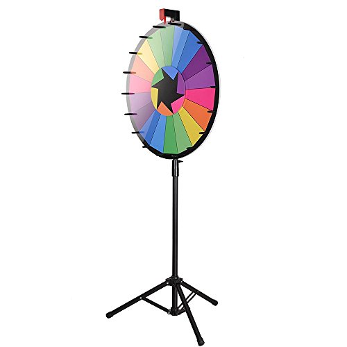 """WinSpin 24"""" Tripod Editable Color Prize Wheel 18 Slot Spinning Game with Dry Erase for Live Stream Tradeshow Carn"""
