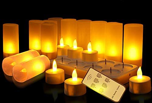 Velas sin llama LED 12 Velas de té recargables con soporte de carga para fiesta, boda, hogar, jardín, decoración de interior Bar, Cafetería, Casa etc [Clase de eficiencia energética A]