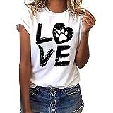 Vestidos de Fiesta Mujer Cortos Elegantes  Vestido de la Camisa Floja de Las Mujeres de Moda Manga Corta Camiseta con Letras de Amor Top Casual con Cuello en O Camisa Vestido