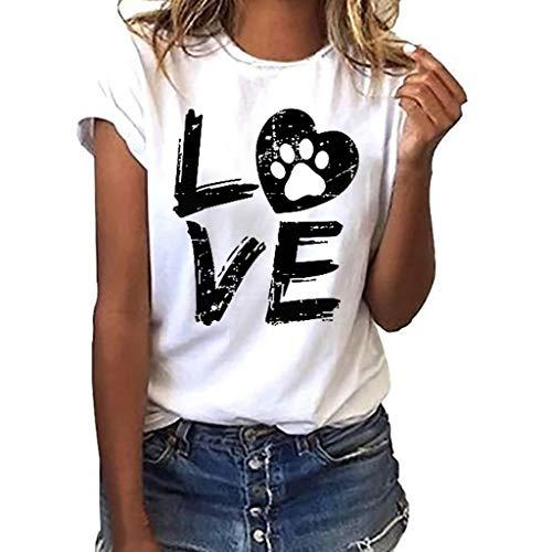 Homebaby T-Shirt Estate Donna Elegante Cotone - Ragazza Maglietta Maniche Corte Moda Loose Camicetta Camicia Vintage Felpe Casual Pullover Top Primavera Vestito Sexy Taglie Forti