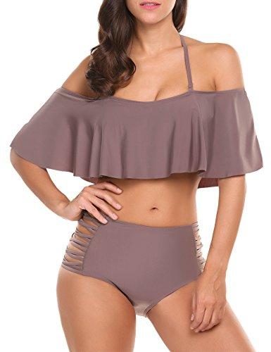 ADOME Damen Bikini high Waist mädchen Push Up Beaderock Neckholder Bikini-Sets Bandeau Badeanzug Bademode Swimwear Swimsuits, XXL, Braun