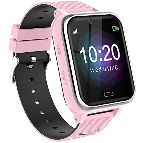 Reloj Teléfono para Niños,Smartwatch Llamadas Bidireccionales Despertador Cámara Linterna Alarma Juego Pantalla Táctil Reloj Inteligente para Niños Regalo Estudiantes Regalo para Niños Niña 3-12(Rosa)