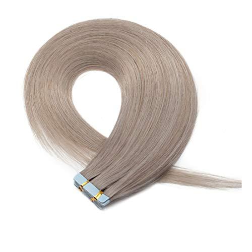 Extension Capelli Veri Adesive Biadesivo #Grey- Lisci 55cm, 2.5g/Ciocca 50g/set - Remy Human Hair Tape in Invisibile