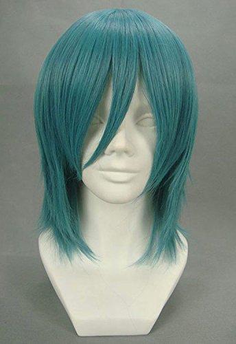 JapanAttitude Perruque mi-Longue Verte 35cm, Cosplay Volcaloid Kaito