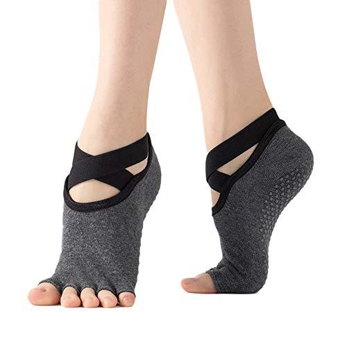 Startby Damen rutschfeste Griffe und Riemen, zehenfreie Yoga-Socken für Pilates, Ballett, Tanz, Barfuß-Workout -  -  Einheitsgröße