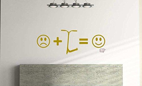 Pegatina de pared para niños con diseño de cara sonriente para niños, dormitorio, sala de juegos (57 cm x 21 cm), color dorado