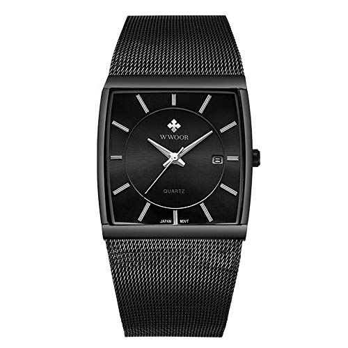 Vierkant Heren Net met ultra-dunne horloge Luminous Kalender waterdicht horloge