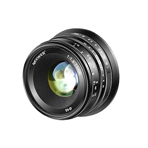 Neewer 25mm F1.8 APS-C Weitwinkelobjektiv mit großer Apertur Manueller Fokus für Sony E Montage spiegellose Kamera A7III A9 NEX 3 3N 5 NEX 5T NEX 5R NEX 6 7 A6400 A6000 A6100 A6300