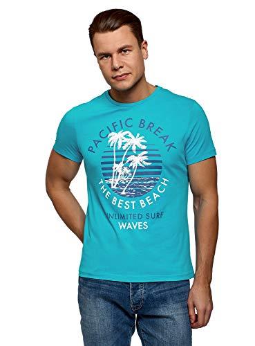 oodji Ultra Hombre Camiseta de Algodón con Estampado, Turquesa, M