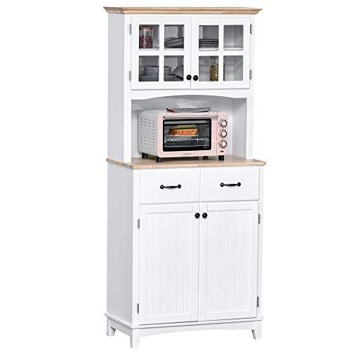 HOMCOM Küchenschrank mit 2 Schubladen, Hochschrank mit verstellbaren Ablagen, Kommode, MDF, Gummiholz, 74 x 40 x 170 cm