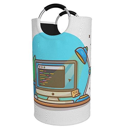 Computadora Y Lampara Vector Dirty Clothes Bag Laundry Bag - Bolsa de transporte con asa y zapatillas duraderas para el hogar, university, Trabajo y Apartment