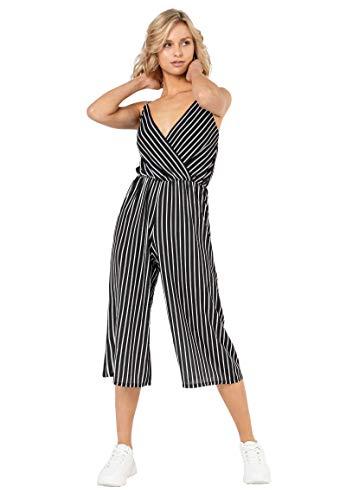 Sublevel Damen Jumpsuit im Wickel-Design mit Streifen-Muster White XL