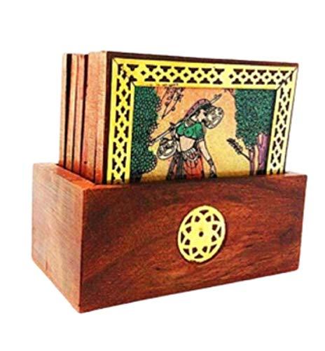 Posavasos grande de madera con piedra de madera de 11,4 cm, ideal para decoración de la oficina y del hogar, ideal para regalar.