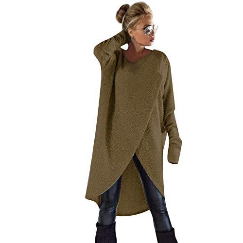 Mode Damen Pullover Mantel Irregulär Stricken Lose Sweatshirt zur Seite Fahren Lange Oberteile Bluse