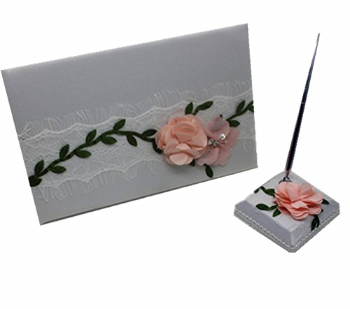 Meiysh Wedding Guest Book & Pen Set,Lace and Silk Flower Wedding Decorations