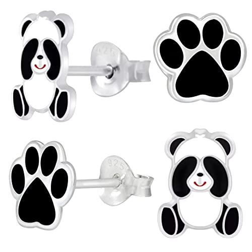 miimago Juego de pendientes infantiles de plata de ley 925, diseño de oso panda y huellas, color negro