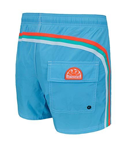 SUNDEK Herren Elastische Taille 14 Zoll Badehose - Blau - Small
