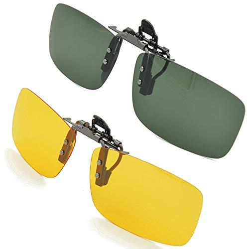 SPLAKS Sonnenbrille Aufsatz 2-Stück Clip on Polarisiert Clip polarisierte Sonnenbrille Flip up Sonnenbrille Clip Gegen Licht für Frauen und Männer(Dunkelgrün+Gelb)