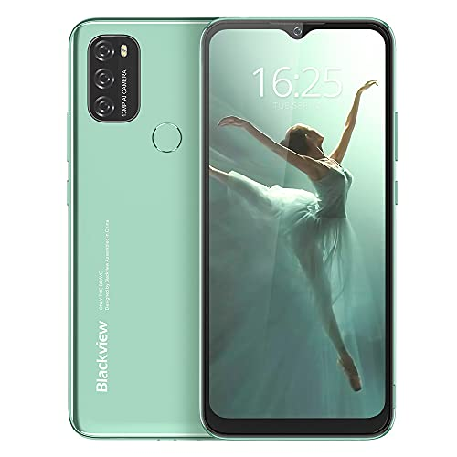 Blackview A70 Android 11 Smartphone ohne Vertrag, 6.517 Zoll HD mit 5380mAh Batterie, 3GB RAM+32GB Speicher Octa-core, 13MP+5MP Kamera, Fingerabdruck Sensor, 4G Handy Dual SIM (Grün)