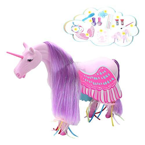 Einhorn zum Beschminken 25cm mit Nagellack Kreativ ab 4J Bemalen Pferd Flügel Unicorn lila...