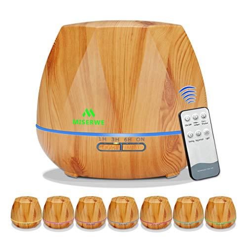WJ Aromatherapie-Diffusor, 550Ml Holzmaserung Luftbefeuchter Ultraschall-Fernbedienung 7 Lichter Timed Mute Essential Oil Diffuser Reiniger Für Heim,Braun