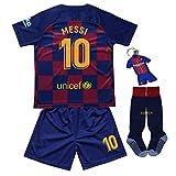 CINDOU T-Shirt Maillot de Football pour garçons Barcelone # 10 Messi - Football pour...