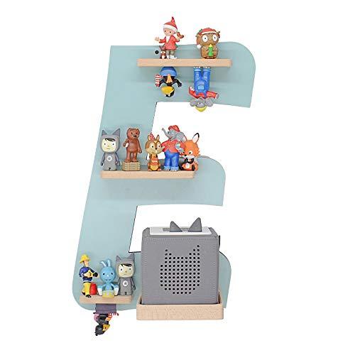BOARTI Kinder Regal Buchstabe E in Lindgrün geeignet für die Toniebox und ca. 26 Tonies - zum Spielen und Sammeln