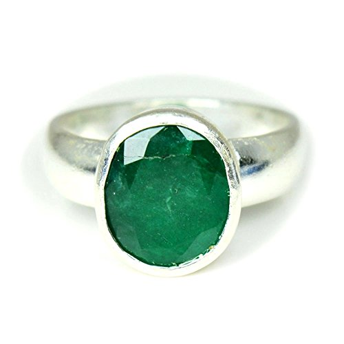 jewelryonclick 6Karat Smaragd natur & original Stein 92,5Sterling Silber Simple Ring für Damen & Herren - 61 (19.4)