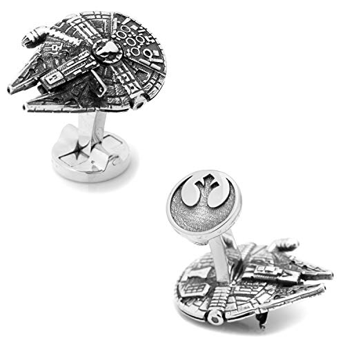 Star Wars Gemelos Halcon Milenario Millennium Falcon en 3D con el Emblema de la Alianza Rebelde, Plateados en Caja de Regalo.