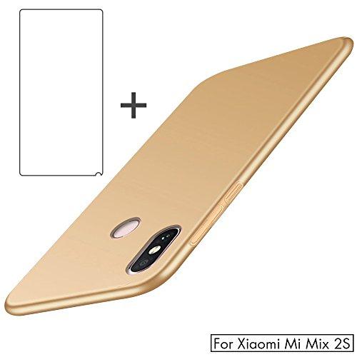 BLUGUL Xiaomi Mi Mix 2s Hülle + Panzerglas, Superdünn, Voll Schützend, Seidengefühl, Schutzfolie & Harter Schutzhülle für Xiaomi Mix 2s, Gold