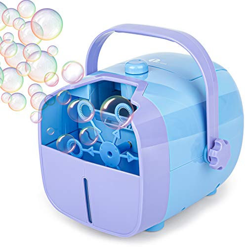 1 BY ONE Bubble Machine, Automatic Bubble Blower, Portable Bubble Maker for Kids Toddlers with 4500+ Bubbles/min, 2 Speeds, 12.8oz Capacity, Powered by Plug-in or Batteries for Indoor Outdoor Parties