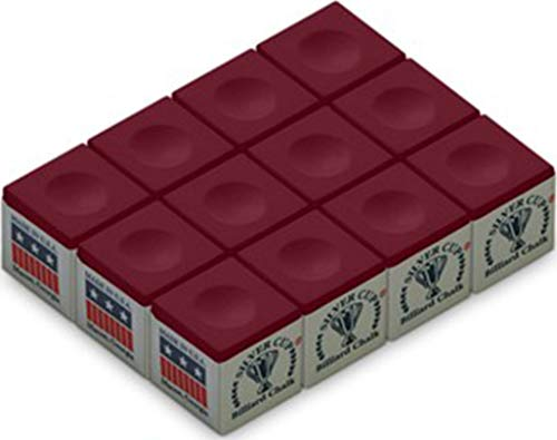 One Dozen Burgundy Silver Cup Pool Cue Chalk by Silver Cup