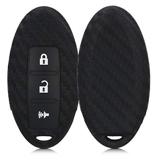 kwmobile Cover chiave compatibile con Nissan con 3 tasti - Guscio protettivo coprichiave morbido silicone TPU - Carbone nero