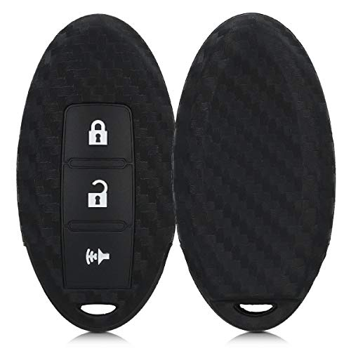 kwmobile Autoschlüssel Hülle kompatibel mit Nissan 3-Tasten Autoschlüssel - Silikon Schutzhülle Schlüsselhülle Cover Carbon Schwarz