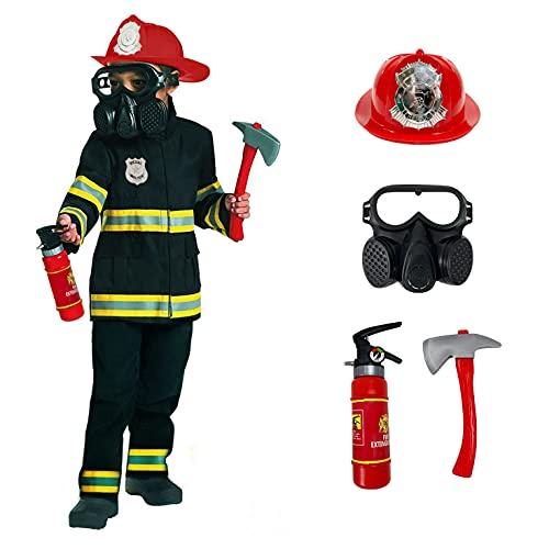 Morph Feuerwehrmann Kostüm für Kinder, Feuerwehr Uniform Jungen Mädchen, Faschingskostüm - S (110- 122)