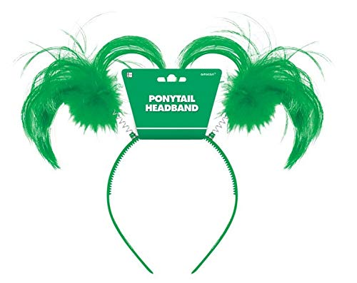 """Amscan Tinsel Wrapped Ponytails Headbopper Accessory, Green, One Size Party Hats, 8"""" x 5"""""""