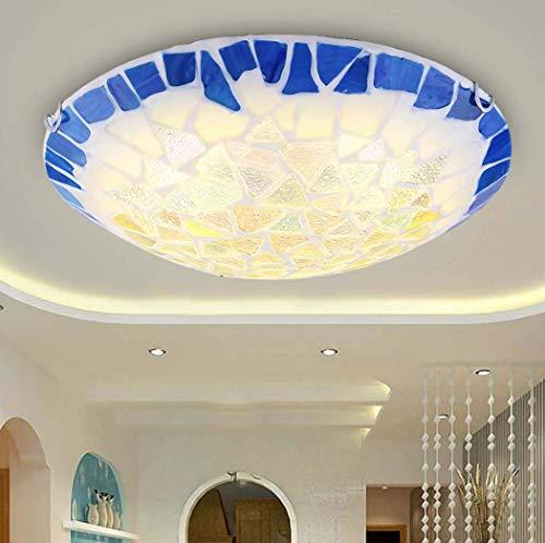 DFJU Luminária de teto de LED em Estilo Tiffany Plafon de teto embutido em Estilo mediterrâneo Iluminação de Entrada para Corredor de Quarto, Chip de LED, luz Quente, 50cm