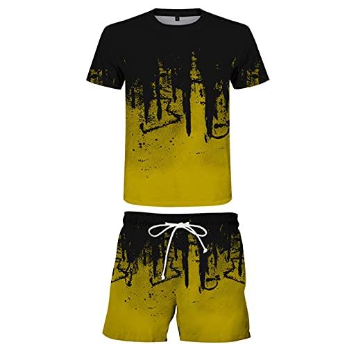 Pantalones Cortos de Playa para Hombre con Cordón y Camiseta de Manga Corta con Estampado 3D Camiseta de Verano con Cuello Redondo Tops Bañadores de Secado Rápido(Amarillo,XL)