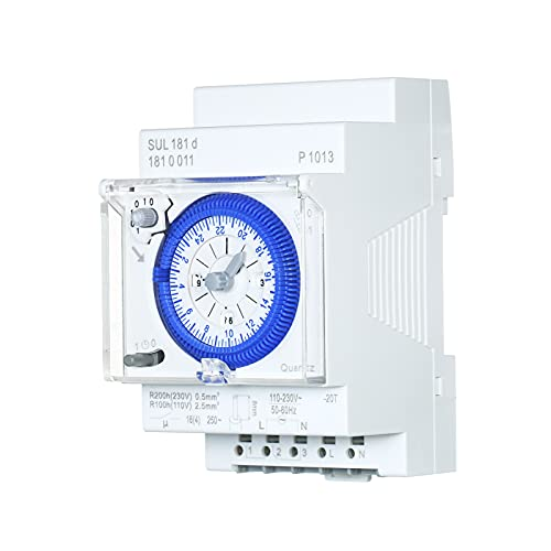 skrskr SUL181d Temporizador mecánico de 24 horas Intervalos de 30 minutos Relé de interruptor de tiempo Temporizador eléctrico programable Interruptor de temporizador de carril Din de 24 horas con 96