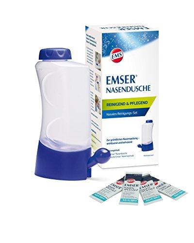Emser Nasendusche inkl. Nasenspülsalz – Nasenspülung bei Erkältung, Allergie und zur Nasenpflege – 4 x 2,5 g Beutel