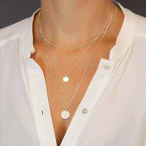 Gortin Boho Layering Necklace Coin Pendant Chain Jewelry Necklaces for Women and Girls (Gold)