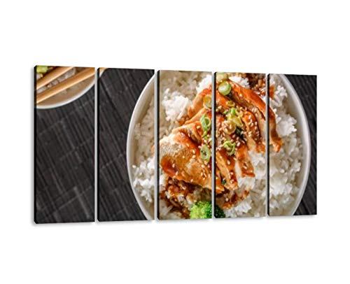 KiiAmy 5 Panels Art Wall Decor Grilled Chicken Breast with Teriyaki Sauce Over Steamed Rice Artwork Modern Canvas Prints Office Bedroom Home Decor Framed Painting Ready to Hang (60''Wx32''H)