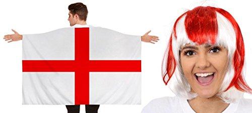 ENGLAND WELTMEISTERSCHAFT = ANZIEHBARE FLAGGEN UMHANG +ZUBEHÖR = NATIONAL FAHNEN PARTY SPORT TENNIS FUSSBALL SUPPORTER FAN = ABMESSUNGEN SIND UNGEFÄHR = 152cm x 91cm = FAHNE UND PERÜCKE