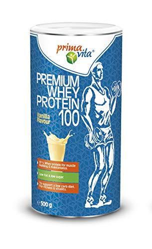 Primavita - Premium Molkenprotein 100 mit 97% Molkenprotein, fettarm, zuckerarm, Vanille, 500g (20 Portionen)