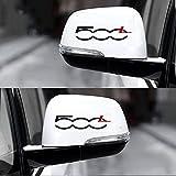 2 Pezzi Auto vinile 100% di alta qualità Adesivi per Specchietti Retrovisori per Fiat 500 500l 500x, Adesivi Personalizzati Riflettenti Decorativi Decorazioni