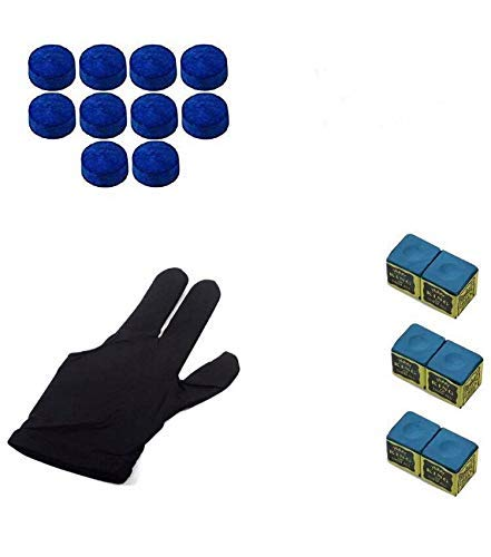 Laxmi Ganesh Billiard Snooker, Pool Cue Stick Combo, Nylon Gloves, 6 Chalk and 10 Pieces Leather Cue Tip (10mm;Blue)