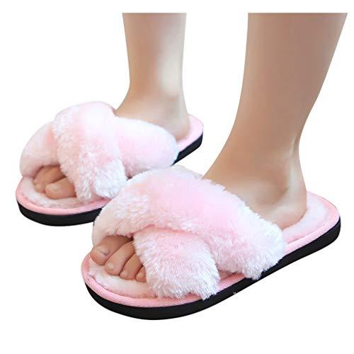 Zapatillas de invierno cálidas para niños y niñas con suela suave de algodón suave para el hogar (color: rosa, talla de zapato: 11.5)