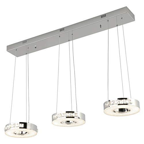Modern 3 Rings Crystal Chandelier Dimmable, JOOSSNWELL LED Pendant Lighting Hanging Lamp in Bedroom,...