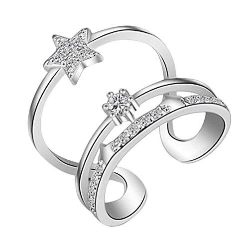 Freedi Women Open Rings Adjustable Diamond Star Wedding Engagement Rings Fashion Jewelry Gift for Girls