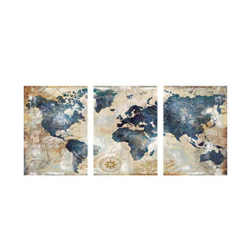 nr Wereldkaart schilderij HD print op canvas landschap modulaire wandschilderij bank -50x70cmx3 frameloos
